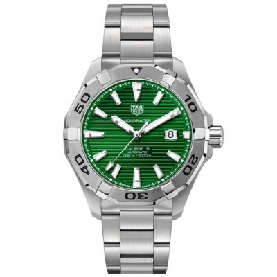 Captain Replica Watch - TAG Heuer Aquaracer 300M Calibre 5 43 Steel Green Dial WAY2015.BA0927